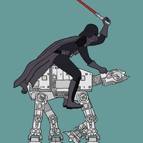 Darth Vader riding imperial walker, 5x7 print