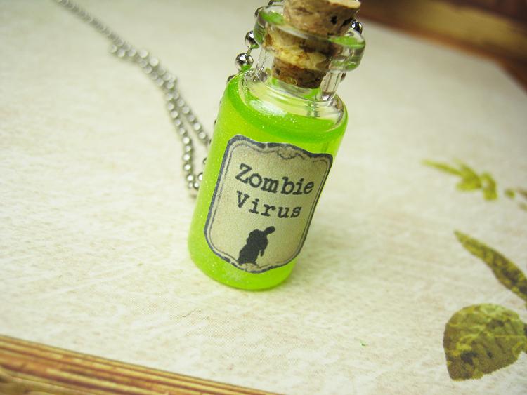 zombie virus antivirus antidote glass bottle necklace