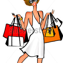 Stock-photo-fashion-cartoon-style-girl-holding-shopping-bags-9428455