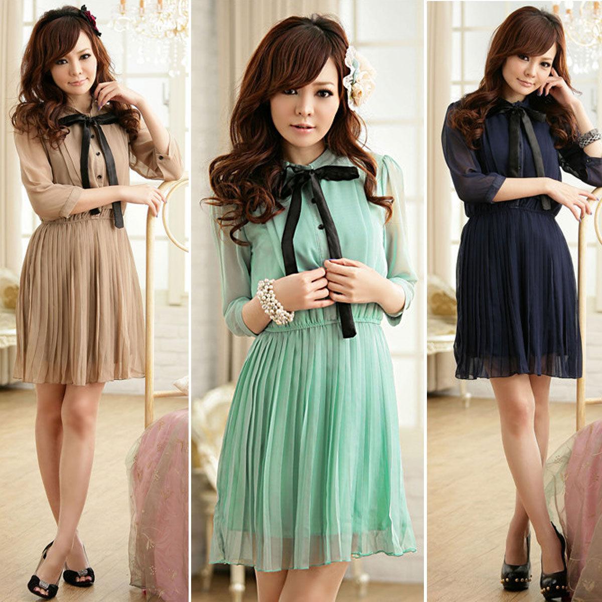 ee8686ce6e1 Ribbon short sleeve pleated chiffon mini dress