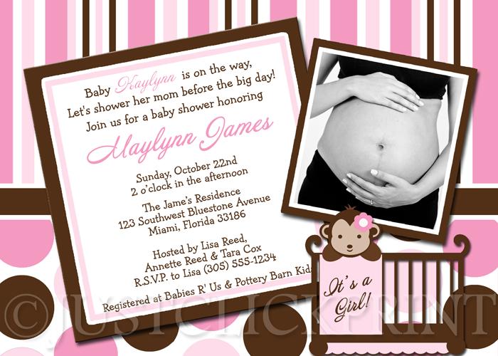 Pink brown modern monkey polka dots stripes baby shower invitation pink brown modern monkey polka dots stripes baby shower invitation filmwisefo
