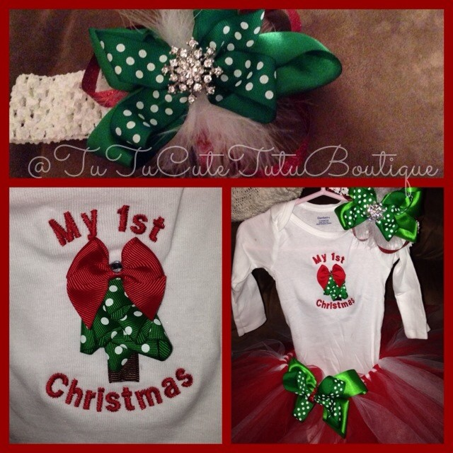 Christmas Tutu Outfits.Red White Green My 1st Christmas Custom Tutu Outfit Sold By Tutucute Tutu Boutique