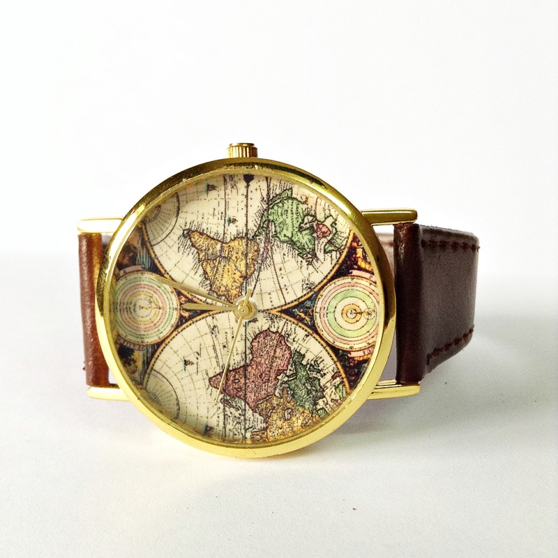 Map Watch, Vintage Style Leather Watch, Women Watches,Mens Watch, Boyfriend  Watch, World Map, Brown, sold by FREEFORME