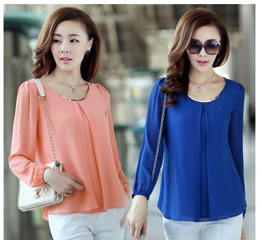Elegant Fashion Candy Color Long Sleeve Chiffon Tops