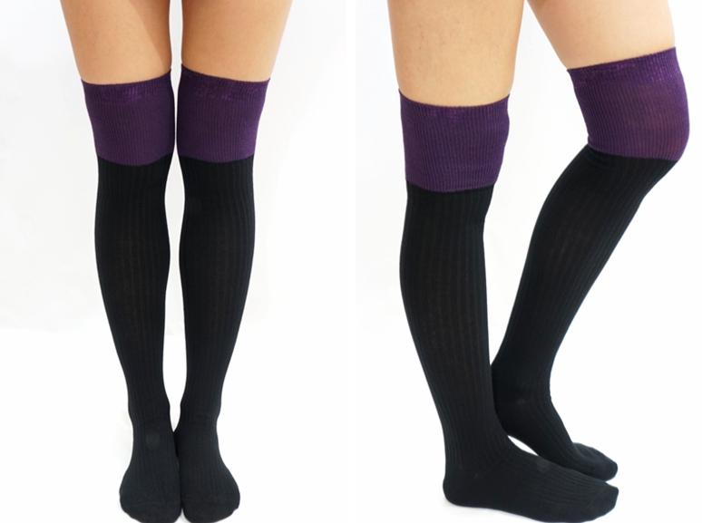 78ee74d810eee Two Tone Knitted Thigh High Knee Socks - Purple · Sandysshop ...