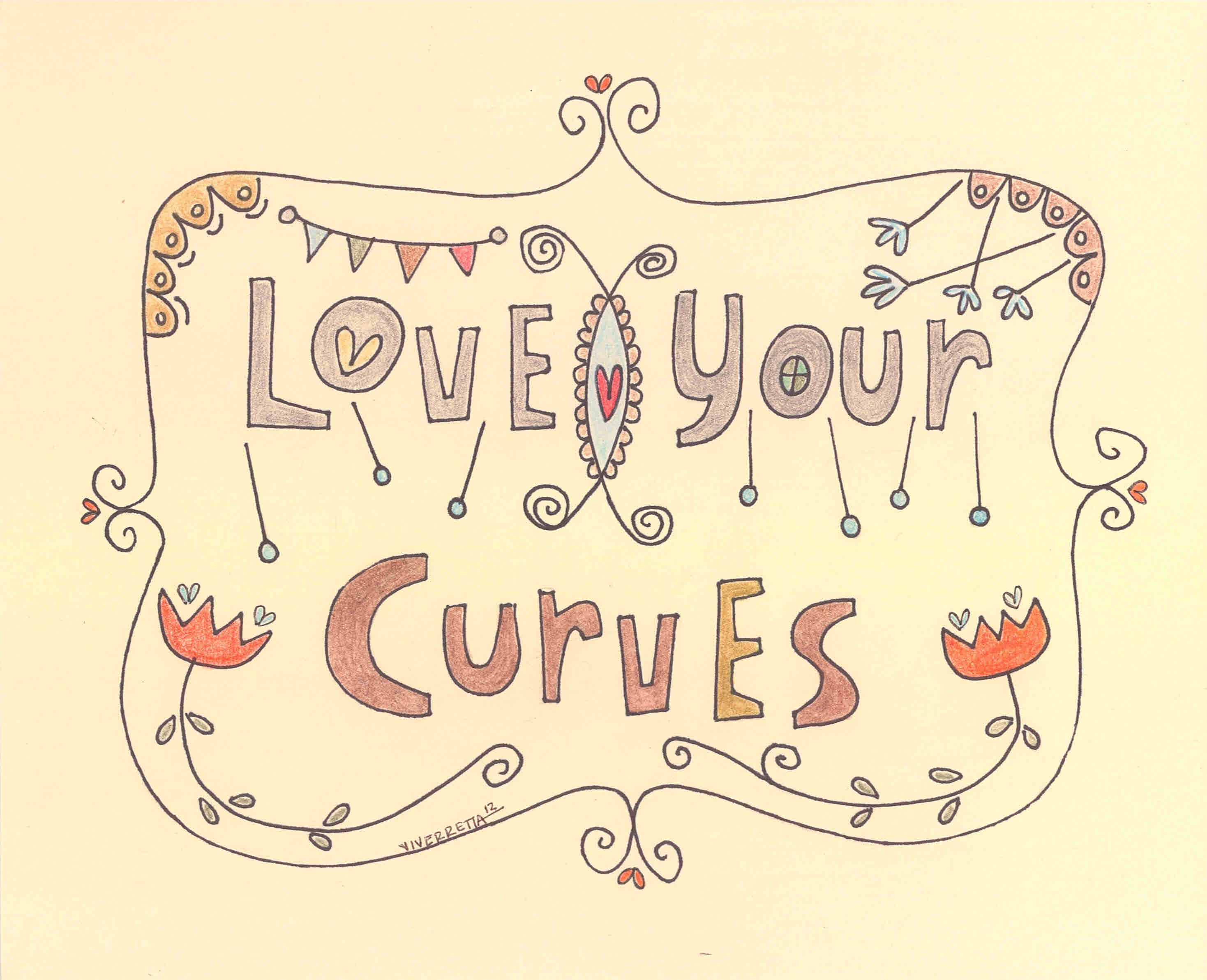 """""""Love Your Curves"""" Hand Lettered Print on Storenvy"""