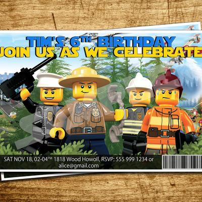 Lego City Printable Birthday Invitation