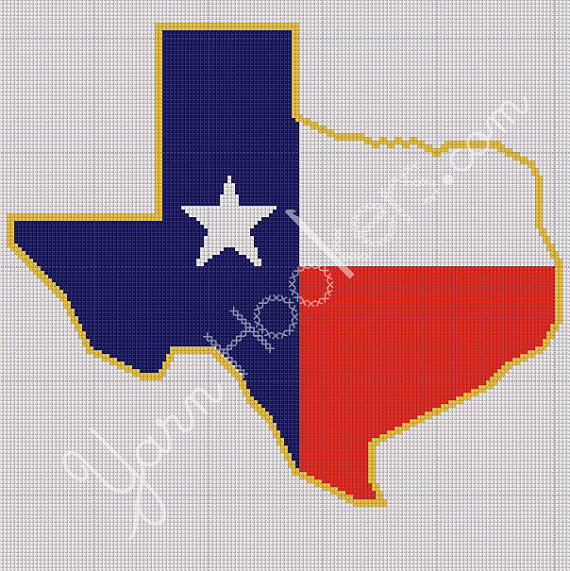 Texas State Shape Flag Afghan Crochet Graph Pattern Chart On Storenvy