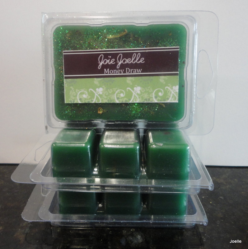 Money Draw Green Spell Wax Melts Tarts for attracting money, good luck,  good fortune, abundance, wealth, finanical gain from Joie Joelle Creations