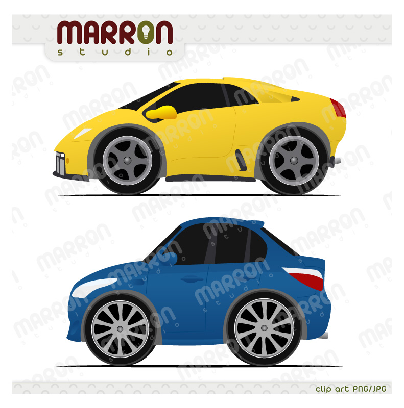 Marron Studio Race Mini Cars Clip Art Couple Digital Download