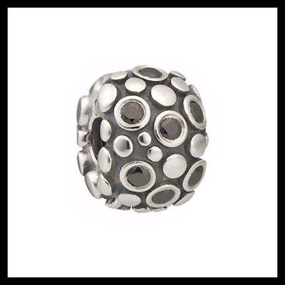 "2d9d10236 Authentic pandora ""encore"" black cz safety clip retired .925  sterling silver european"