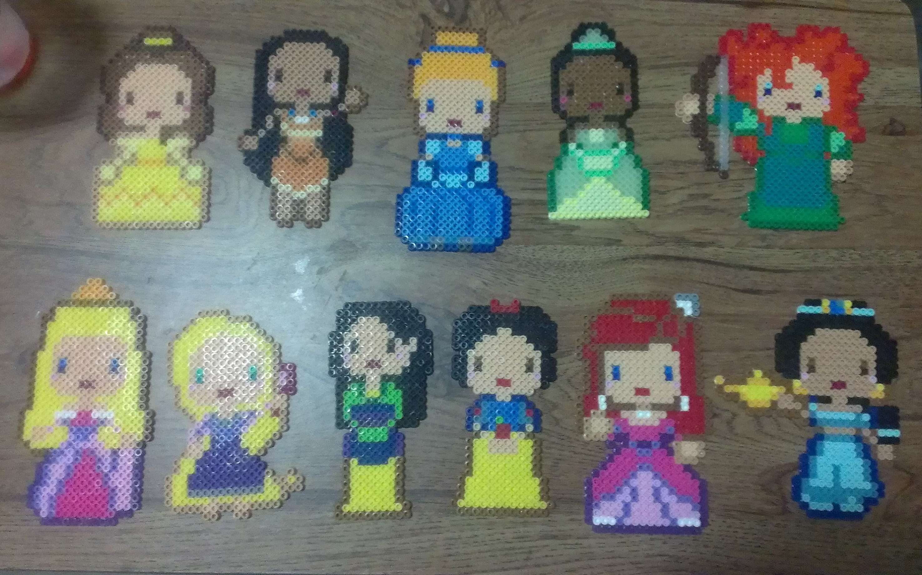 Set Of 11 Disney Princess Perler Bead Sprites Teas