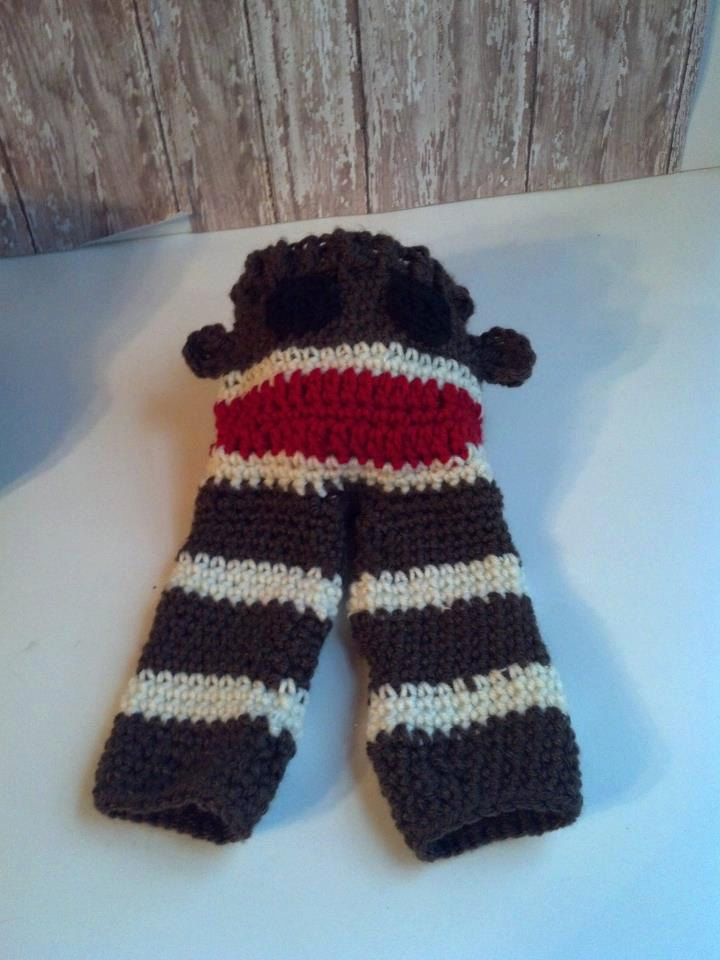Baby Sock Monkey Pants Crochet Longies Classic Red Brown And
