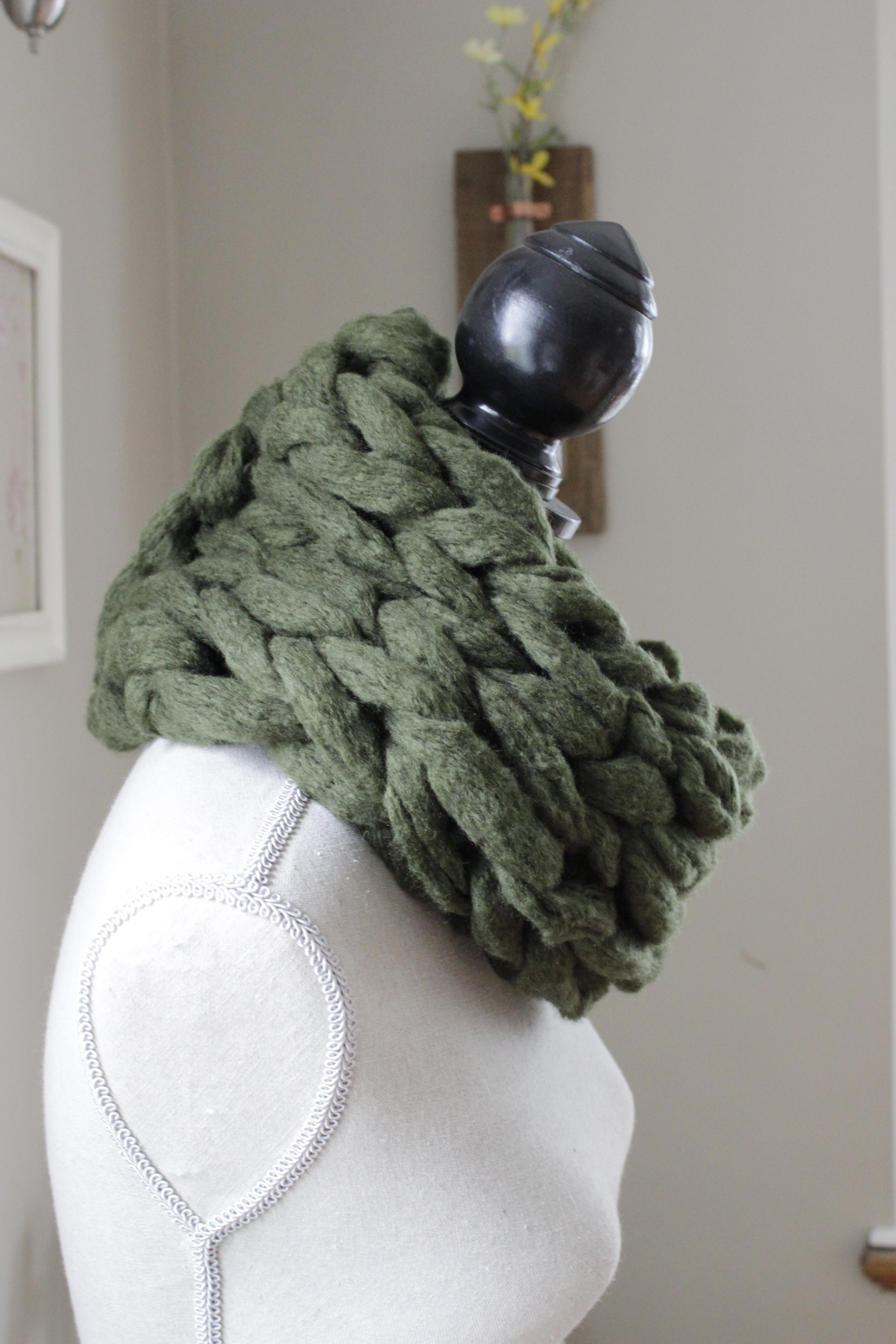 Super Chunky Arm Knit Infinity Scarf Green On Storenvy