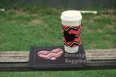 Coffee Cozy & Mug Rug Combo - Chevron Heart