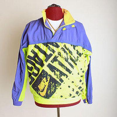 60d4c9387f65 RARE Retro Vintage Nike Half-Zip Pullover Lime Windbreaker-NEON ...