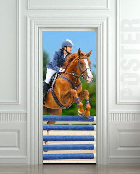 Door Sticker Horse Horseman Rider Jockey Race Sport Mural
