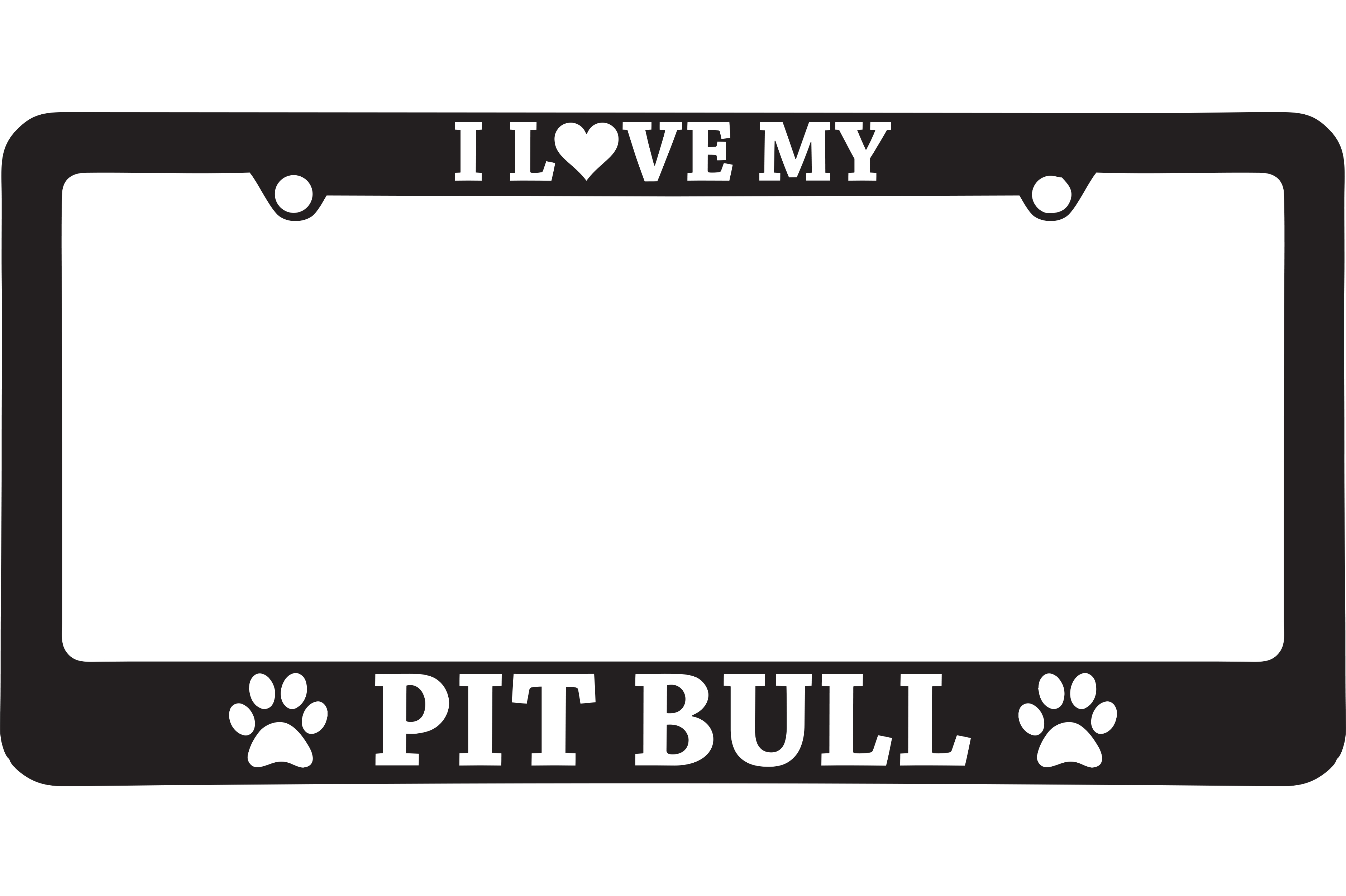 I Love My Pit Bull License Plate Frame on Storenvy