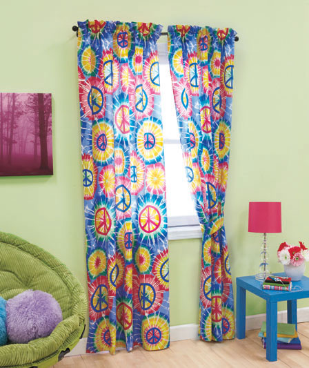 PEACE SIGN Tie Dye Groovy HIPPIE Kids Teen Dorm RETRO 4 Pc Window Curtains  Drapes Set
