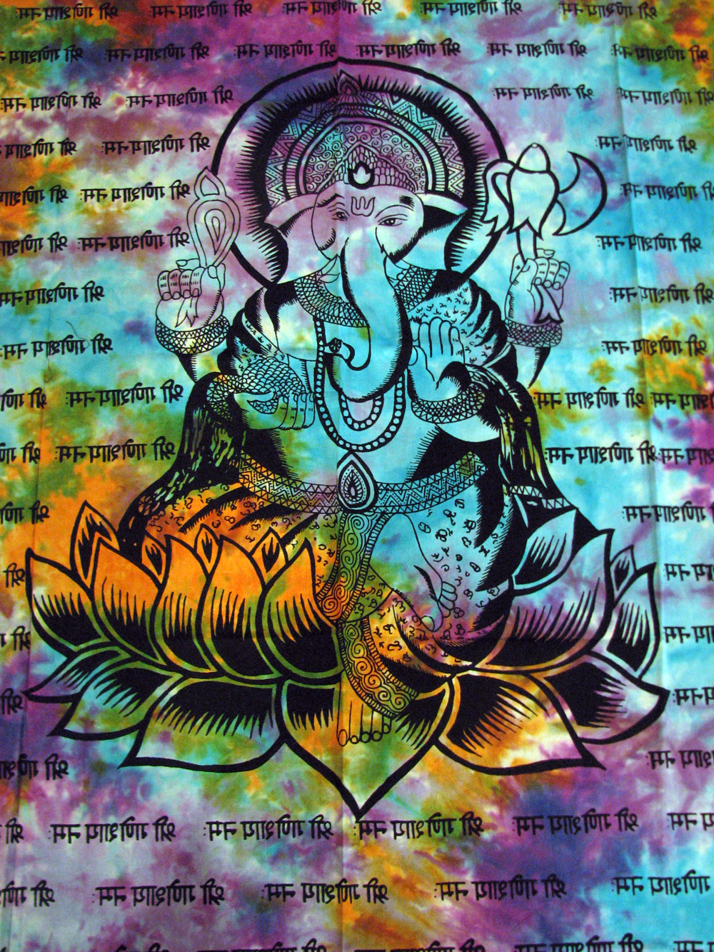 Curtainganeshdye9 small & Lord Ganesh GANESHA Hindu Tie Dye Indian TAPESTRY Wall Hang Door ...