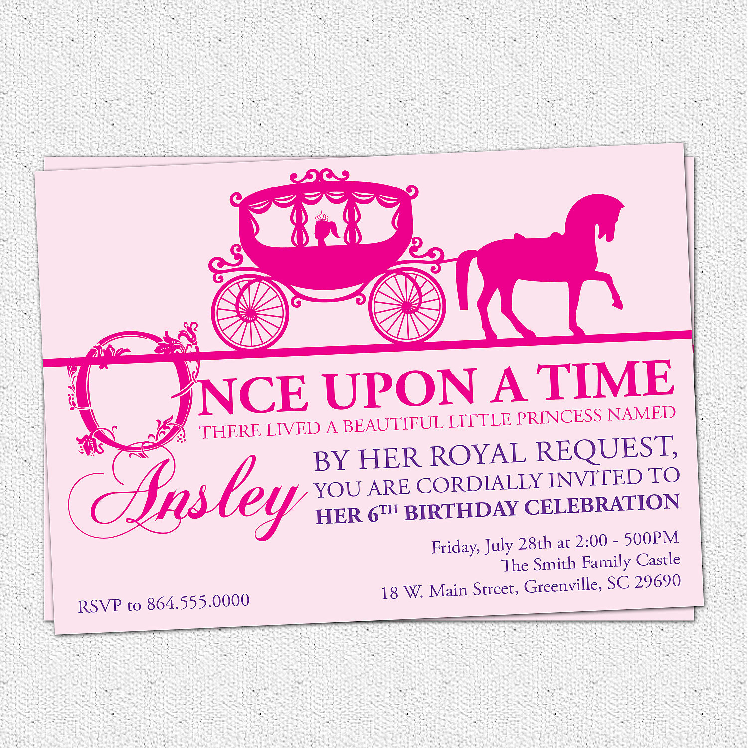 Princess Birthday Party Invitations Girl Horse Drawn Carriage Story Book Pink Purple
