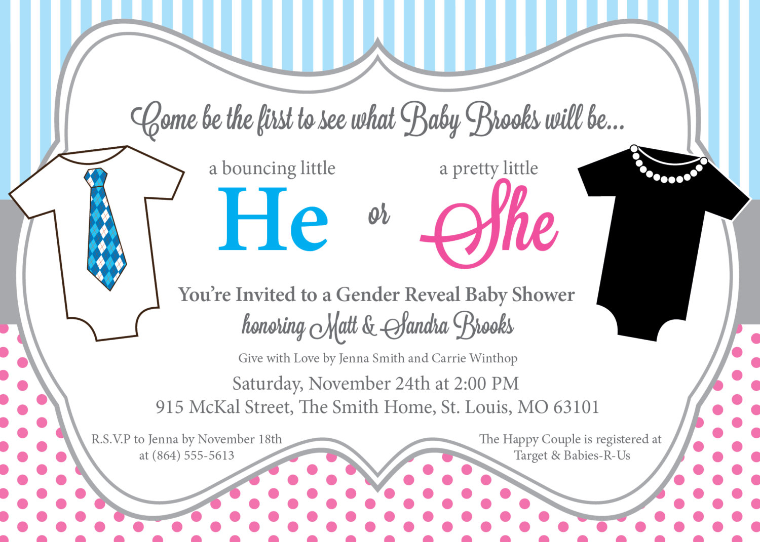He or She Gender Reveal Baby Shower Invitations, Pink and Blue ...