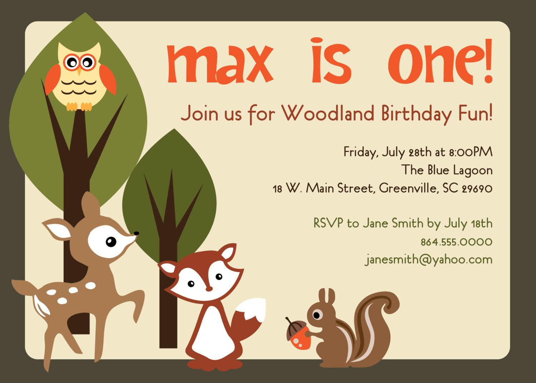Woodland Birthday Invitations Animals Creatures Friends Forest