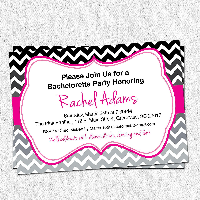 Bachelorette Party Invitations Bridal Shower Birthday Chevron Hot Pink Grey Black Ombre SET OF 10