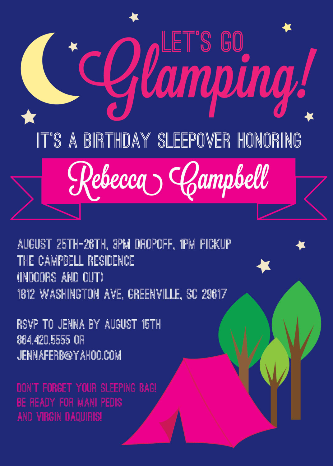 Glamping Invitations Glam Glamour Camping Birthday Bachelorette Girl SET OF 10 From OhCreativeOne LLC