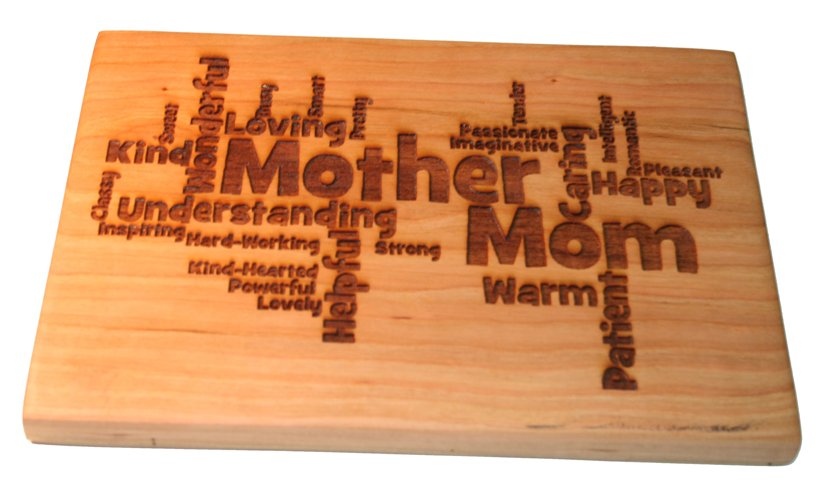 laser engraved cutting board mother s day gift word art large 15x10