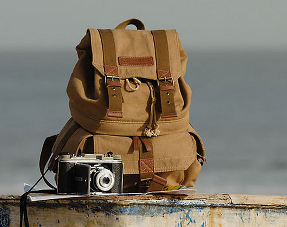 Extra Large Canvas DSLR Camera Backpack - Camera Backpack - Canvas ...