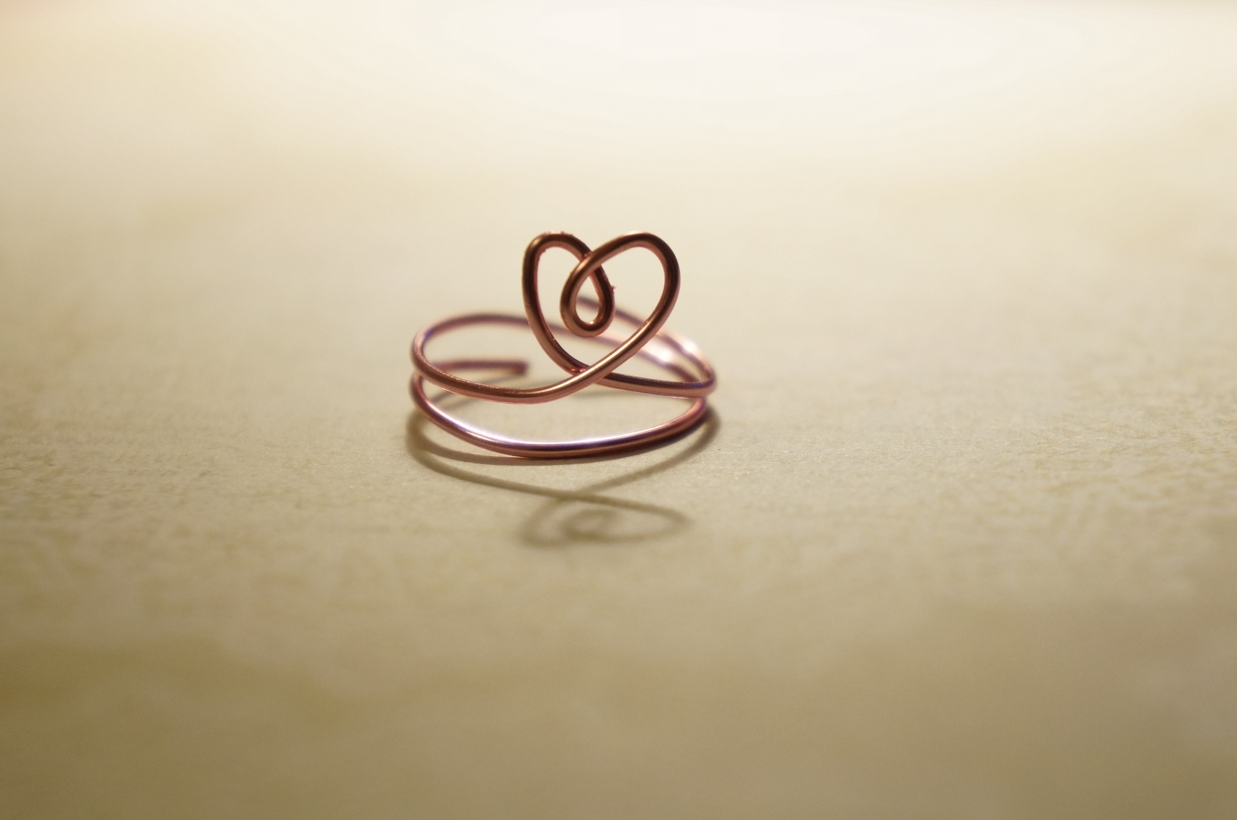 Curly Heart - Rose gold silver plated copper wire ring on Storenvy