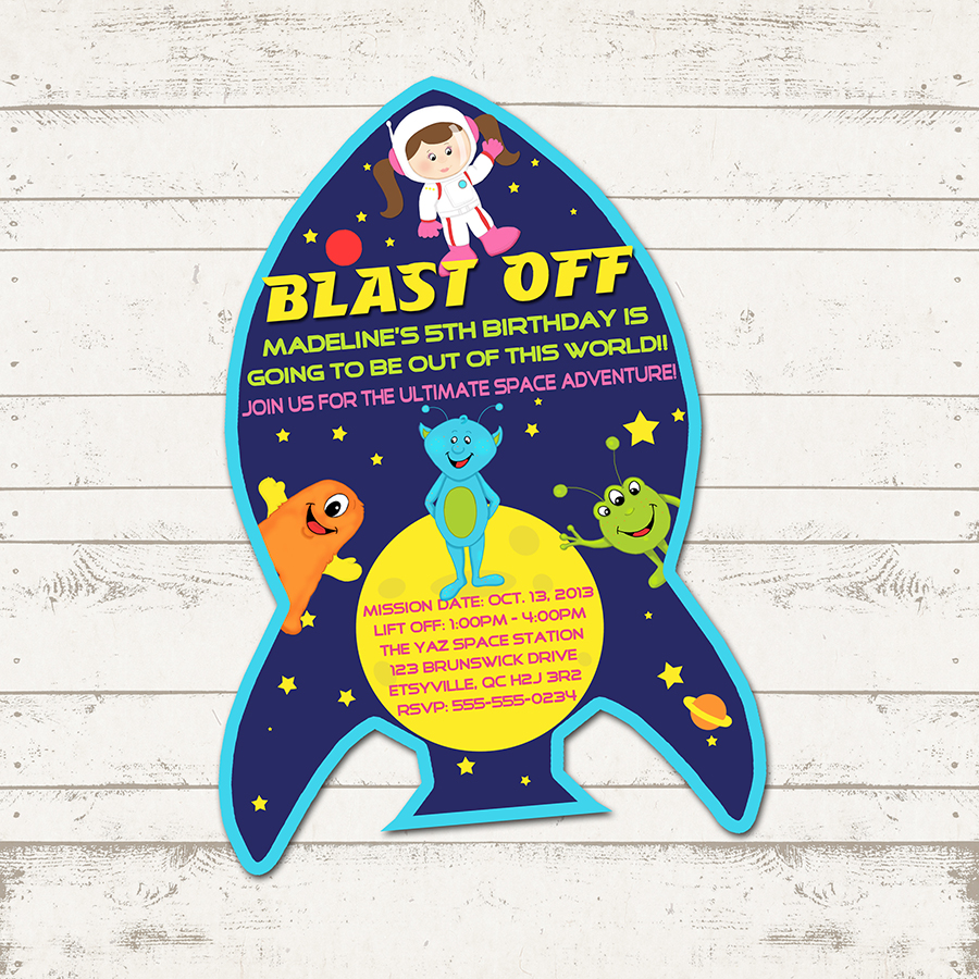 Outer Space Birthday Party Girl Astronaut Rockets Aliens – Space Party Invitation