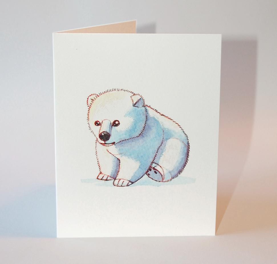 Baby Polar Bear Greeting Card Flat Cat Studio Online Store