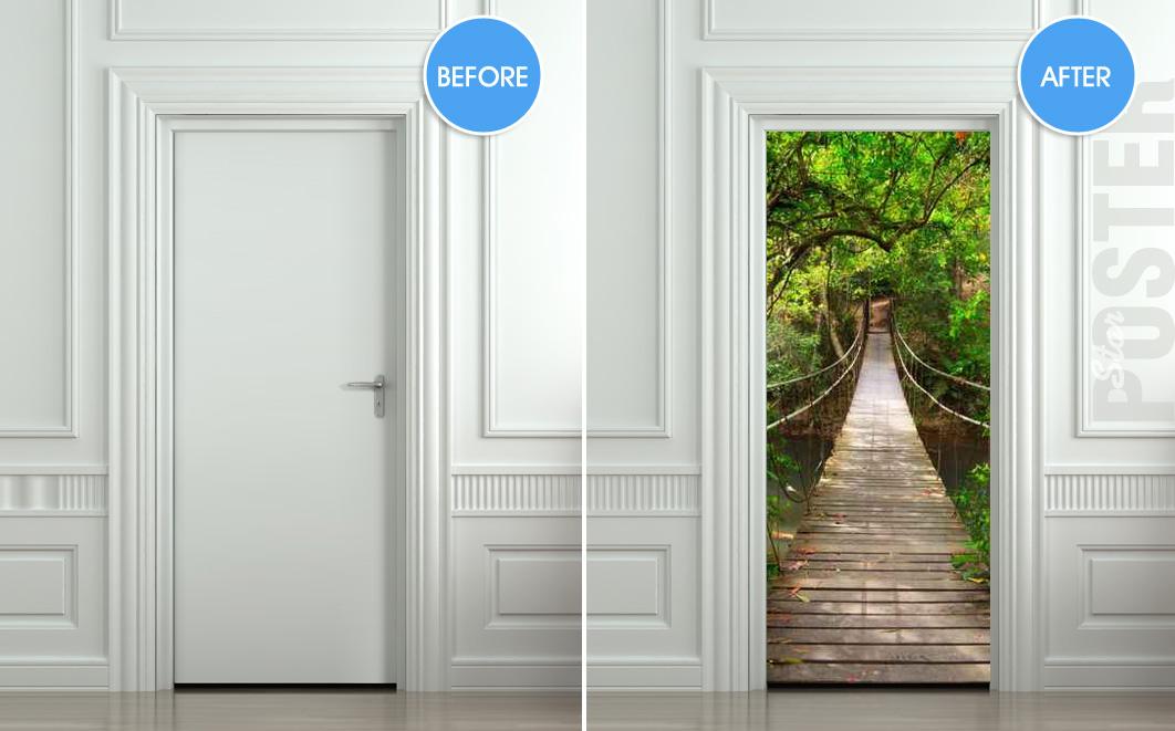 Giant door sticker rope bridge tropic forest decole film poster 30x7977x200cm