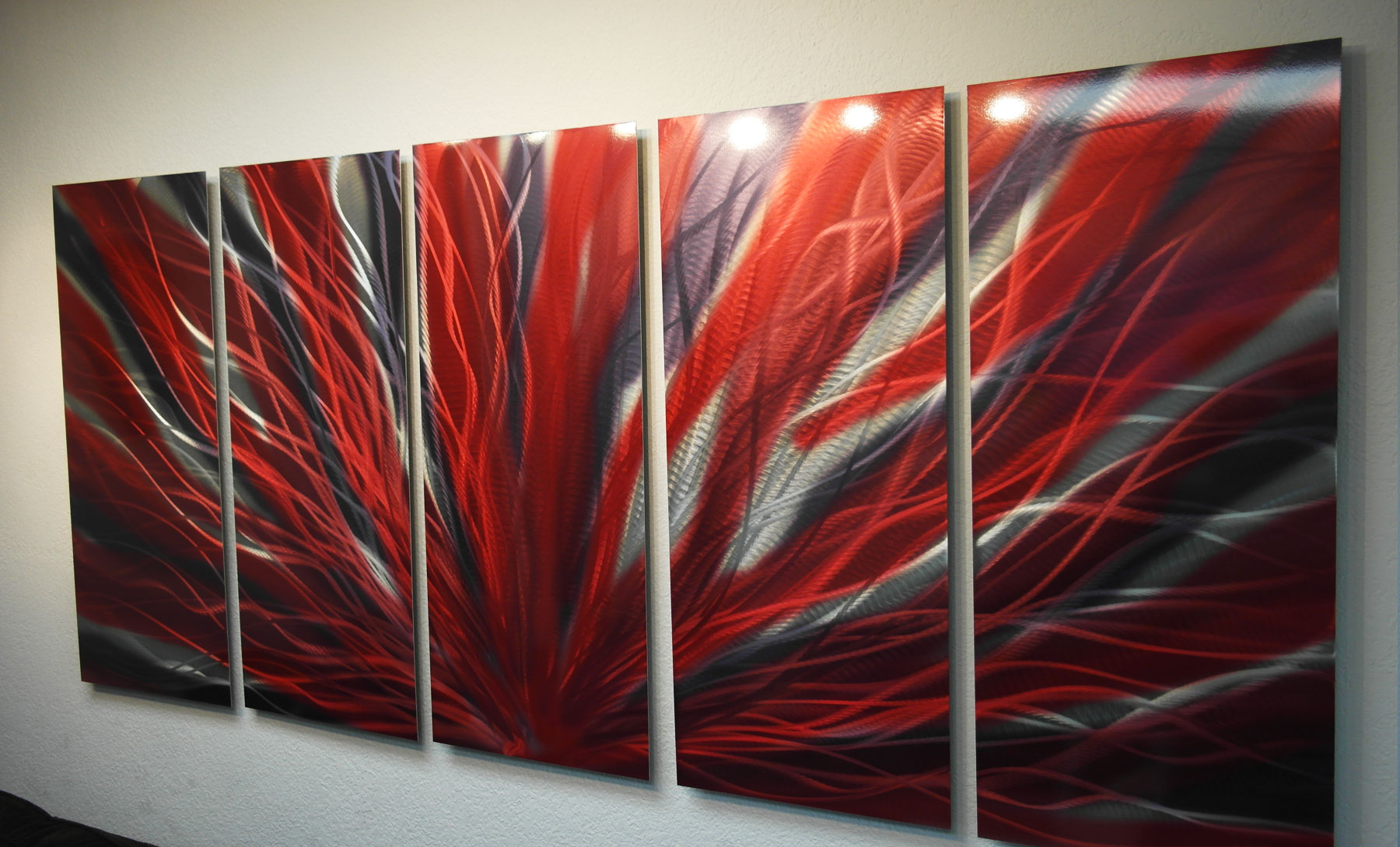Large Radiance Red And Black- Metal Wall Art Abstract