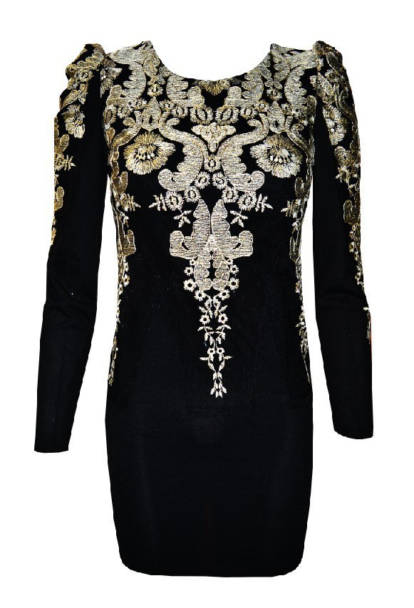 Gold Embroidered Puff Sleeve Mini Dress In Black On Storenvy