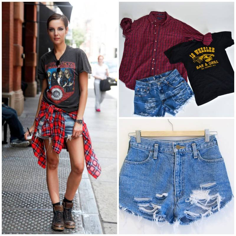 Back To School Mystery Grunge 90s Outfit Flannel Jean Shorts Boho