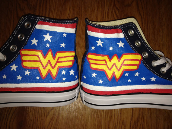 fec4ecc5b72a Wonder Woman Hand Painted Converse Shoes on Storenvy