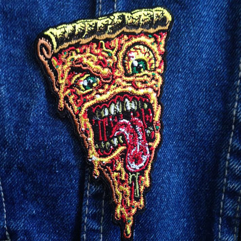 pizza face patch iron on ready embroidered color jimbo phillips webstore online store. Black Bedroom Furniture Sets. Home Design Ideas