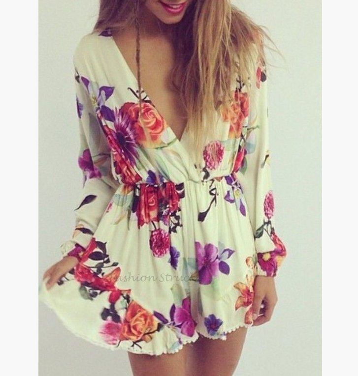 479729c01f48 Floral Long Sleeve Playsuit Romper · Fashion Struck · Online Store ...