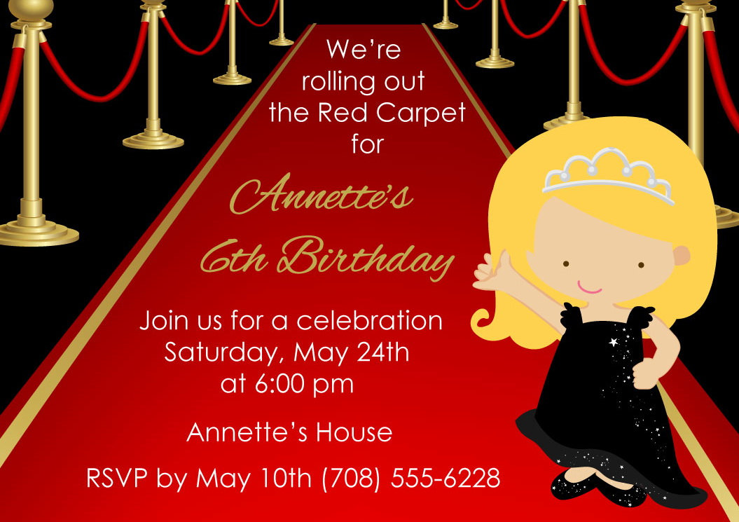 Printable Red Carpet Invitation • Kids Red Carpet Birthday Invite ...