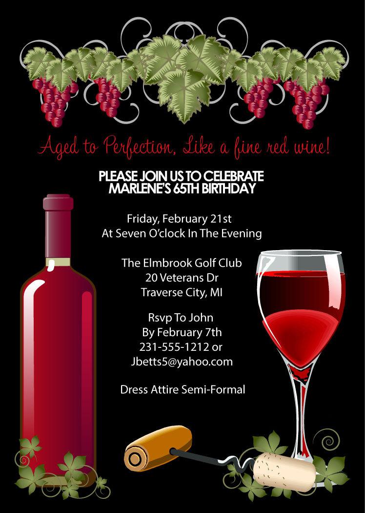 Wine Invitation Adult Birthday Party Invitations Aged To