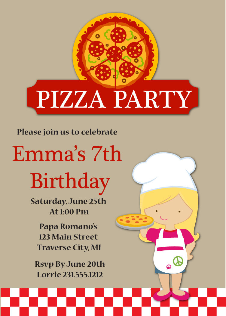 pizza party birthday invitation kids pizza party invitation