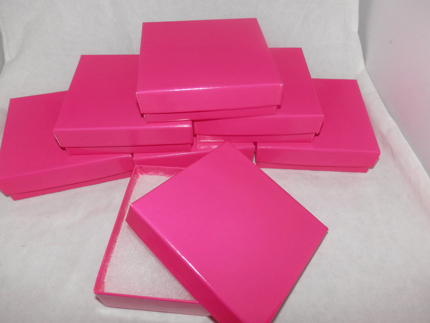 10 Pack 3 5x3 5 Glossy Hot Pink Cotton Filled Jewelry Presentation Boxes Neon Pink Color Gift Boxes Vibrant Pink Boxes