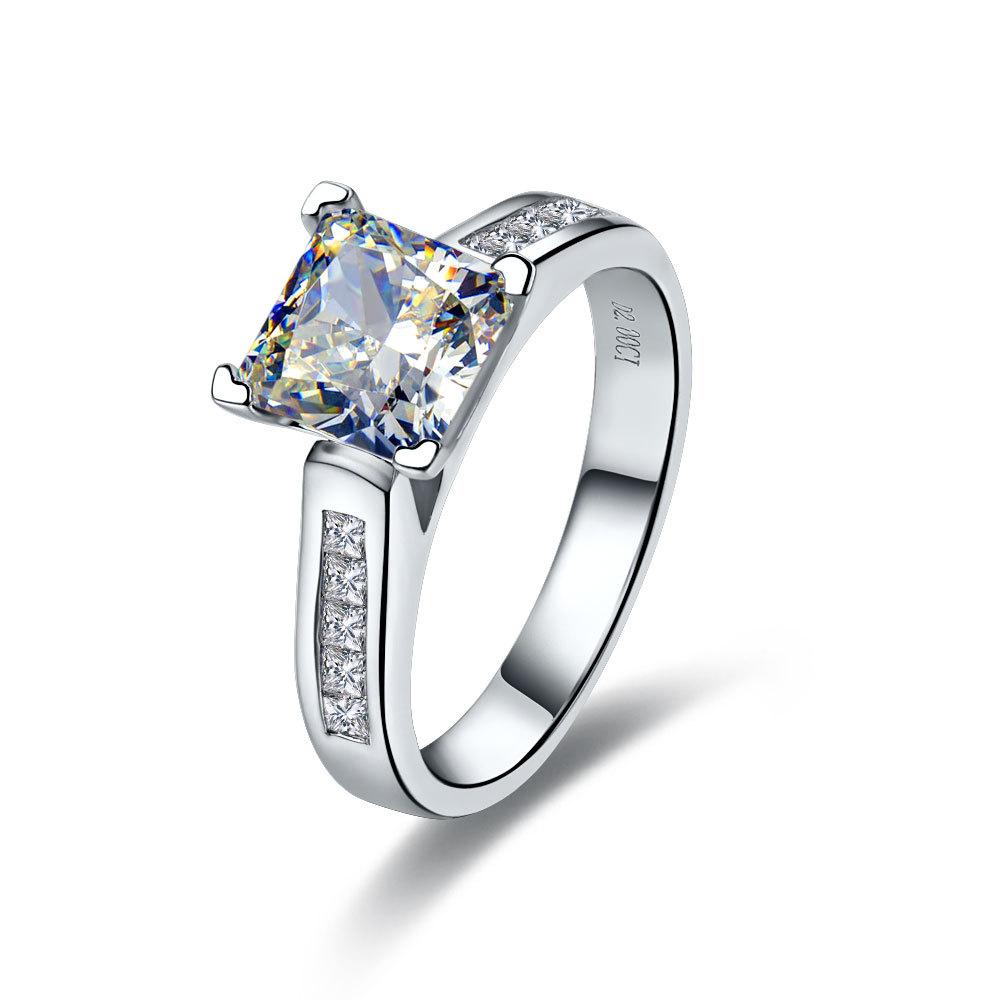 2 CT Center NSCD SONA SIMULATED Diamond Princess Radiant Cut Wedding