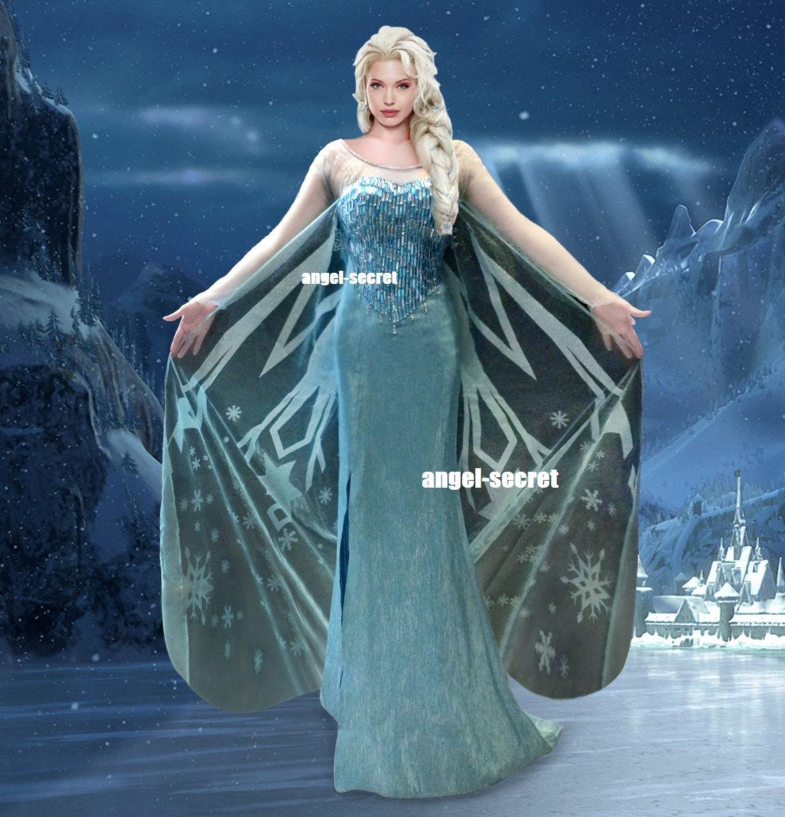 J737 Movies Frozen Snow Queen Elsa Cosplay Costume Deluxe ...