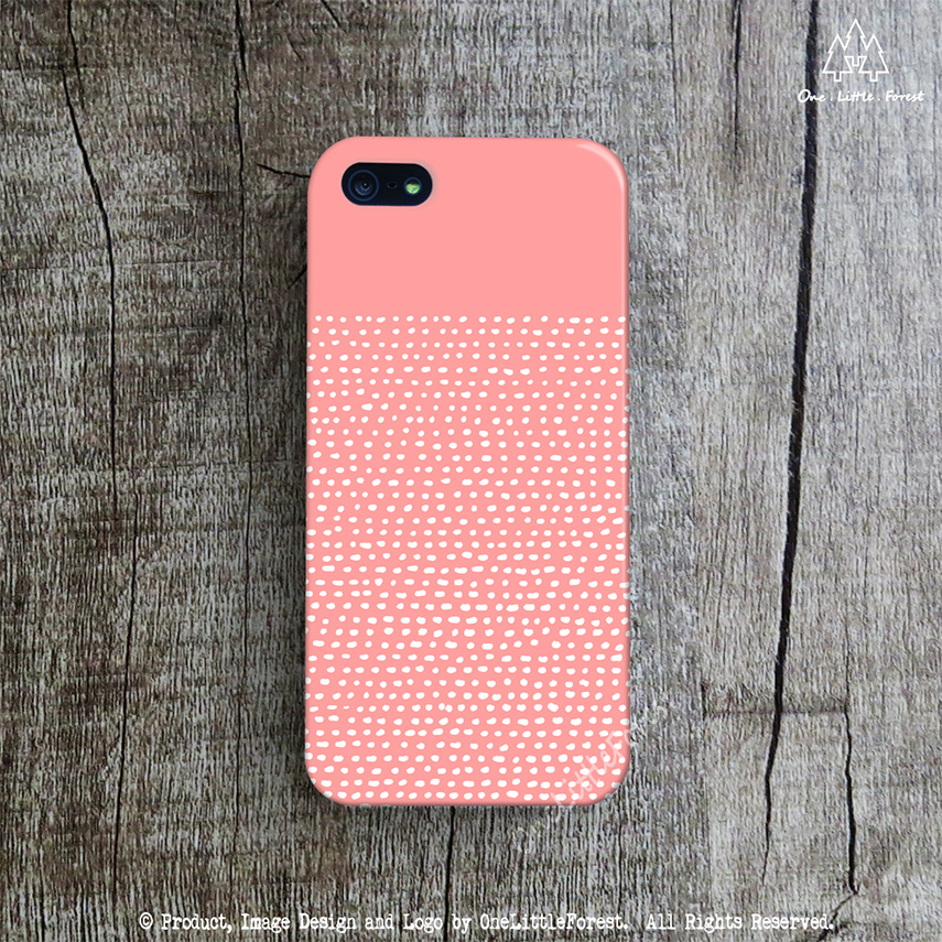 coral iphone case hand drawn dotted line iphone 5 case spring