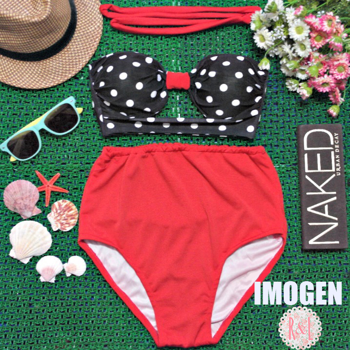 ce5d3b4d78 Imogen - Retro Vintage Pin Up Handmade Red Black White Polka Dot Cut Out  Bandeau High Waist Bikini Swimsuit Swimwear on Storenvy