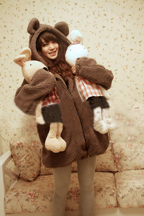 teddy bear plush rabbit ears winter coat harajuku. Black Bedroom Furniture Sets. Home Design Ideas